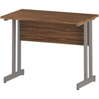 Rectangular Double Cantilever Silver Leg Slimline Office Desk Walnut W1000xD600mm