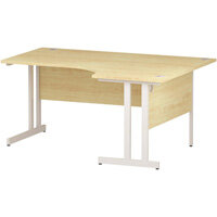 L-Shaped Corner Right Hand Double Cantilever White Leg Office Desk Maple W1600mm