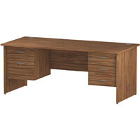 Rectangular Panel End Office Desk With 2 Fixed Pedestals 3/2 Drawer Walnut W1800xD800mm