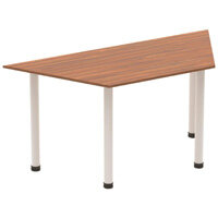 Trapezoidal Table Walnut with Silver Frame 1600x800mm