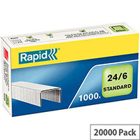 Rapid Standard 24/6 Staples 6mm Shank Length Pack of 1000 (20 Boxes)