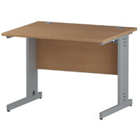 Rectangular Cable Managed Cantilever Silver Leg Office Desk Oak W1000xD800mm