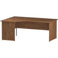 L-Shaped Corner Left Hand Panel End Office Desk Walnut W1800mm