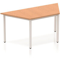Modular Trapezodial Table Oak with Silver Box Frame W1600xD800mm