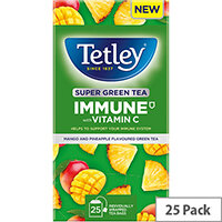 Tetley Super Green Tea IMMUNE Mango & Pineapple with Vitamin C Ref 4691A Pack of 25