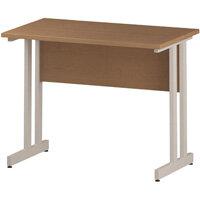 Rectangular Double Cantilever White Leg Slimline Office Desk Oak W1000xD600mm