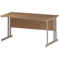 Wave Double Cantilever Silver Leg Right Hand Office Desk Oak W1600mm