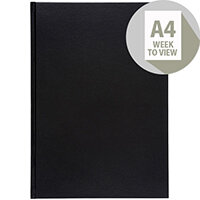 5 Star Office 2020 Diary Week to View Casebound and Sewn Vinyl Coated Board A4 297x210mm Black