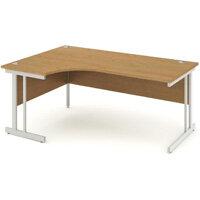 L-Shaped Corner Left Hand Double Cantilever Silver Leg Office Desk Oak W1800mm