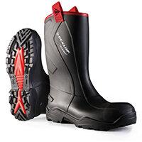 Dunlop Purofort Plus Rugged Safety Rigger Boots Size 10 Black Ref C76204310