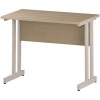 Rectangular Double Cantilever White Leg Slimline Office Desk Maple W1000xD600mm
