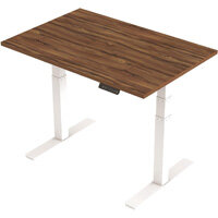 1200x800mm Height Adjustable Rectangular Sit-Stand Desk Walnut with White Frame