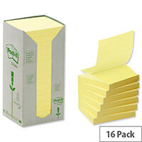 Post-it Z-note Tower Recycled Yellow 100 Sheets per Pad 76x76mm Pack 16