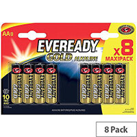 Eveready Gold AA LR6 Alkaline Batteries Pack of 8