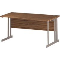 Wave Double Cantilever Silver Leg Right Hand Office Desk Walnut W1600mm