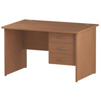 Rectangular Panel End Office Desk With Fixed 3 Drawer Pedestal Beech W1200xD800mm
