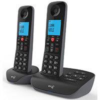 BT Essential Cordless Telephone Backlit Display Speaker Answering Machine Nuisance Call-blocking Black Twin-Pack