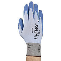 Ansell HyFlex 18 Gauge, Size 6 Cut-Resistant Palm Coated Ultralight-Duty Work Gloves Blue/White