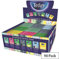 Tetley Indulgence Teabags Variety Box String and Tag Envelopes 7 Mixed Flavours 90 Bags