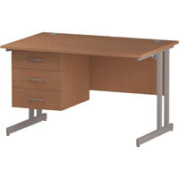 Rectangular Double Cantilever Silver Leg Office Desk With Fixed 3 Drawer Pedestal Beech W1200xD800mm