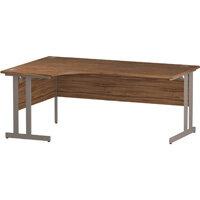 L-Shaped Corner Left Hand Double Cantilever Silver Leg Office Desk Walnut W1800mm