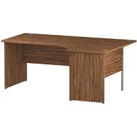 L-Shaped Corner Right Hand Panel End Office Desk Walnut W1800mm