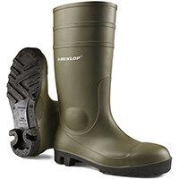 Dunlop Protomaster Safety Wellington Boot Steel Toe PVC 10.5 Green Ref 142VP10.5
