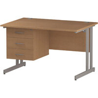 Rectangular Double Cantilever Silver Leg Office Desk With Fixed 3 Drawer Pedestal Oak W1200xD800mm