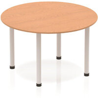 Circular Table Oak with Silver Frame 1200x1200mm
