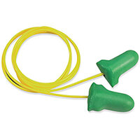 Howard Leight Max Lite Disposable Corded Earplugs Low Pressure Foam Green Polybag Pack 100 Pairs Ref LPF-30