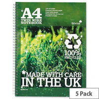 Silvine Premium A4 Notebook Recycled Punched Ruled 120 Pages Pack 5