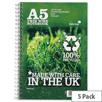 Silvine Premium A5 Notebook Recycled Wirebound R103 Pack 5