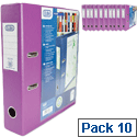 Elba Lever Arch File with Clear PVC Cover 70mm Spine A4 Purple Pack of 10