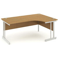 L-Shaped Corner Right Hand Double Cantilever Silver Leg Office Desk Oak W1800mm