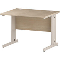 Rectangular Cable Managed Cantilever White Leg Office Desk Maple W1000xD800mm