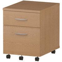 2 Drawer Mobile Desk Pedestal Oak