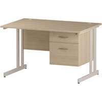Rectangular Double Cantilever White Leg Office Desk With Fixed 2 Drawer Pedestal Maple W1200xD800mm