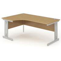 L-Shaped Corner Left Hand Cable Managed Silver Leg Office Desk Oak W1800mm