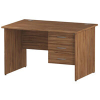 Rectangular Panel End Office Desk With Fixed 3 Drawer Pedestal Walnut W1200xD800mm