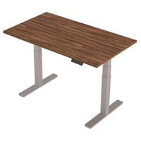 1400x800mm Height Adjustable Rectangular Sit-Stand Desk Walnut with Silver Frame