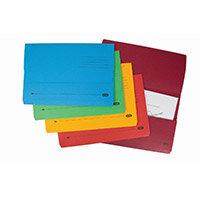 Elba Strongline Foolscap Document Wallet Half-Flap 320g/m2 Assorted Pack 10
