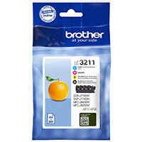 Brother LC3211VAL Yield: 200 Pages Black/Cyan/Magenta/Yellow Ink Cartridge Pack of 4