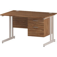Rectangular Double Cantilever White Leg Office Desk With Fixed 2 Drawer Pedestal Walnut W1200xD800mm
