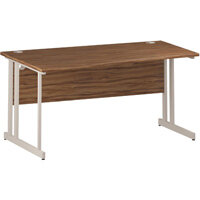 Wave Double Cantilever White Leg Left Hand Office Desk Walnut W1600mm