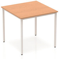 Modular Square Table Oak with Silver Box Frame W800xD800mm