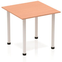 Modular Square Table Beech with Silver Tubular Steel Frame W800xD800mm