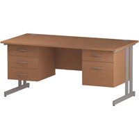 Rectangular Double Cantilever Silver Leg Office Desk With 2 Fixed Pedestals 3/2 Drawer Beech W1600xD800mm