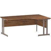 L-Shaped Corner Right Hand Double Cantilever Silver Leg Office Desk Walnut W1800mm