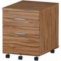 2 Drawer Mobile Desk Pedestal Walnut