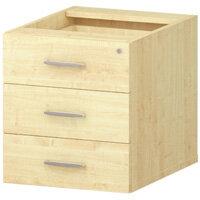 3 Drawer Fixed Desk Pedestal Maple